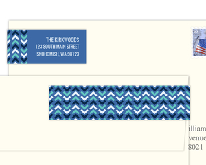 Shades Of Blue Chevron Pattern Address Label