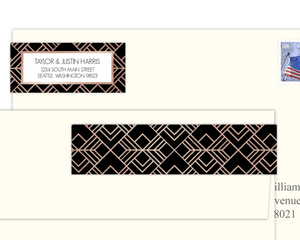 Faux Rose Gold Geometric Pattern Address Label
