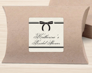 Cushioned Black Bow Favor Label