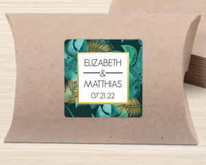 Faux Foil And Green Watercolor Foliage Favor Label