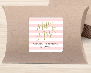 Pink Striped Miss to Mrs. Favor Label