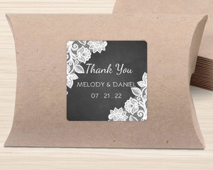 White Lace And Chalkboard Favor Label