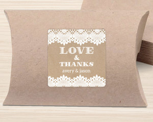 White Lace and Kraft Favor Label