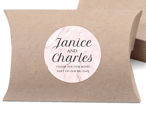 Elegant Pink Marble Favor Label