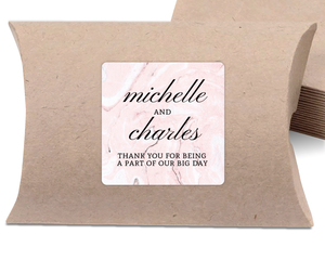 Elegant Pink Marble Square Favor Label