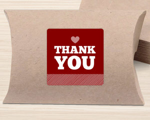 Modern Striped Heart Thank You Favor Label