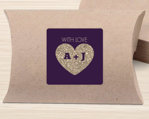 Faux Gold Glitter Heart Favor Label