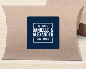 Simple Navy And White Square Favor Label