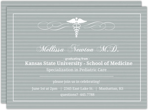 Gray Striped Med School Grad Invite