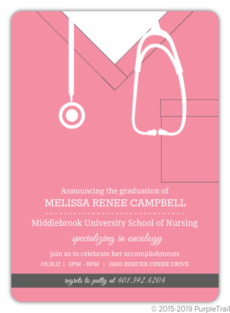 Pink Scrubs Nursing School Graduation Invitation Nursing School Graduation Invitations