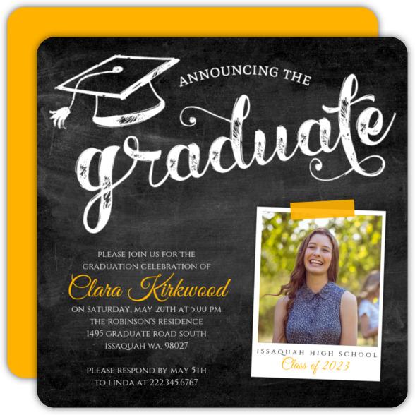Pink Chalkboard Typography Graduation Invitation
