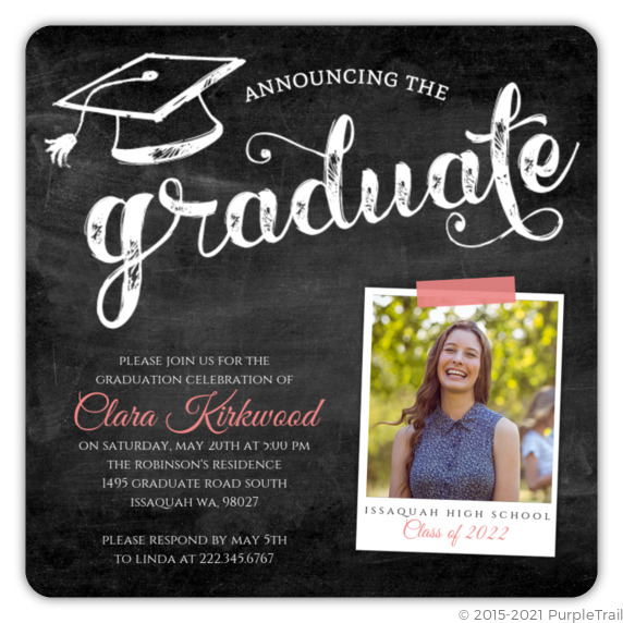 Pink chalkboard typography graduation invitation high school pink chalkboard typography graduation invitation filmwisefo
