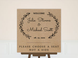 Rustic Chalk Wreath Initial Wedding Welcome Poster