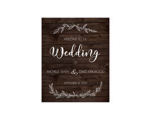 White Rustic Leaves Wedding Welcome Poster