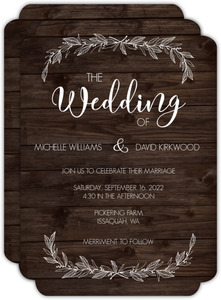 White Rustic Leaves Wedding Invitation