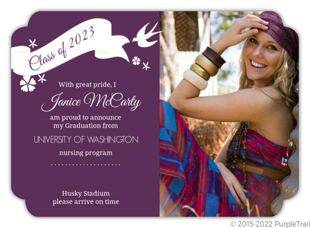 purple graduation announcement nursing school graduation invitations