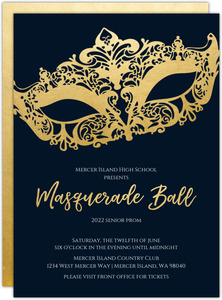 Faux Gold Foil Mask Masquerade Prom Invitation