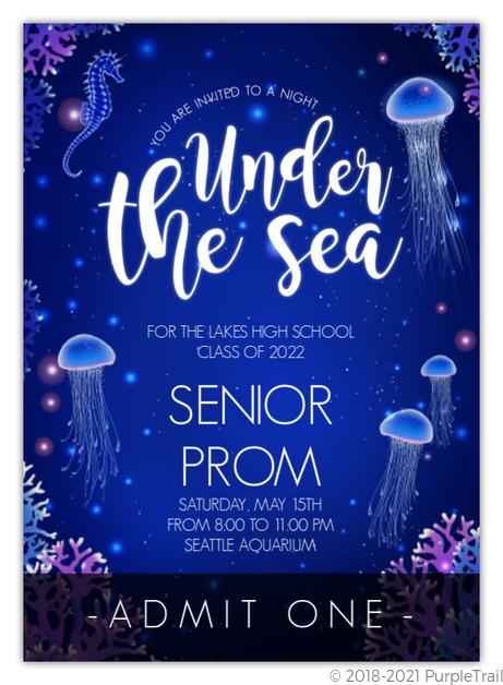 glowing jellyfish under the sea prom ticket prom invitations