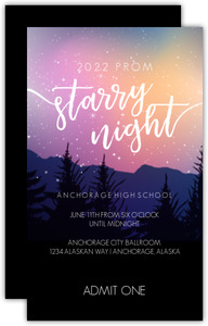 Colorful Northern Lights And Stars Prom Ticket