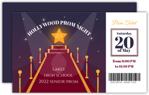 Hollywood Night Senior Prom Ticket