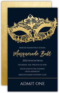 Faux Gold Foil Mask Masquerade Prom Ticket