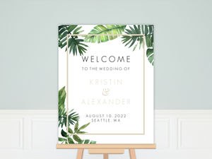 Tropical Green Leaves Wedding Welcome Poster