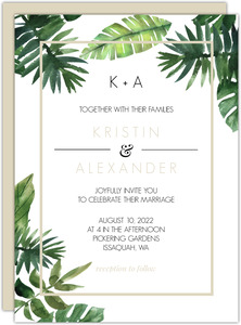 Tropical Green Leaves Wedding Invitation