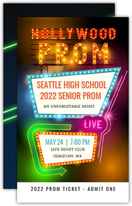 Hollywood Retro Lights Prom Ticket