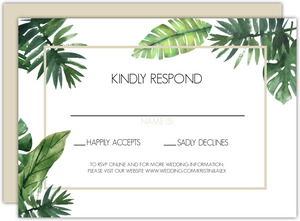 Tropical Green Leaves Wedding Response Card