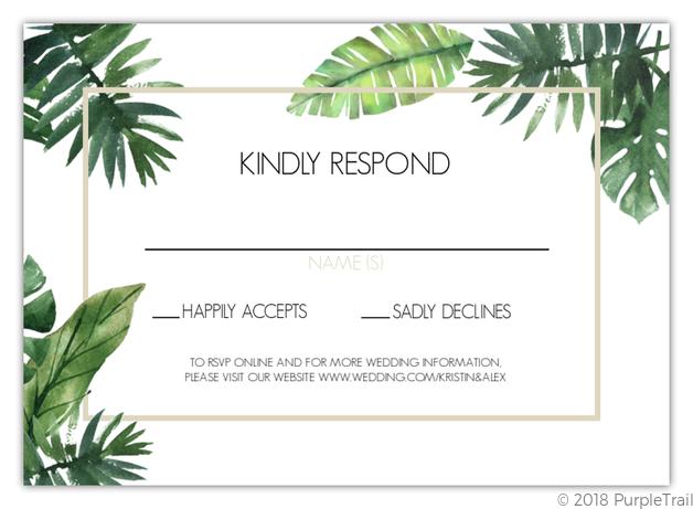 tropical green leaves wedding response card