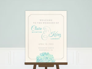 Romantic Watercolor Florals Wedding Welcome Poster