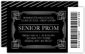 Bold Faux Silver Foil Senior Prom Ticket