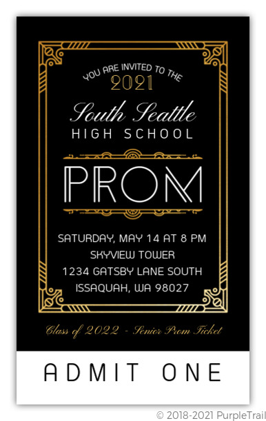 Golden Great Gatsby High School Prom Ticket