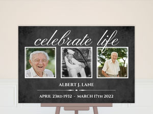Black Elegant Photo Frames Memorial Poster