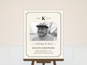 Formal Double Frame Monogram Memorial Poster