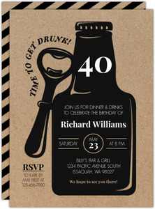 Rustic Black Bottle 40th Birthday Invitation