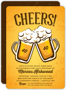 Cheers Beer Mugs 40th Birthday Invitation