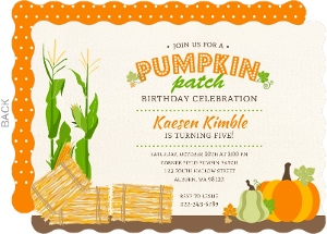 Fun Pumpkin Patch Kids Birthday Celebration Invitation