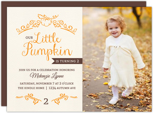 Whimsical Little Pumpkin Birthday Party Invitation