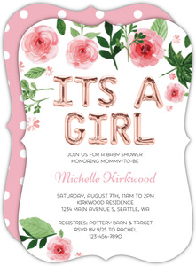 Its A Girl Balloon Baby Shower Invitation