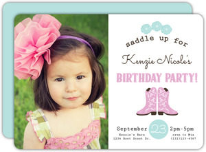 Saddle Up Cowgirl Kids Birthday Party Invitation