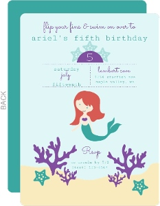 Mermaid Under The Sea Kids Birthday Party Invitation