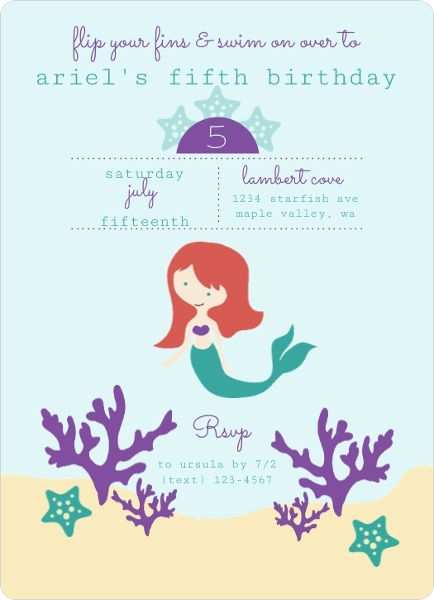 Mermaid Under The Sea Kids Birthday Party Invitation