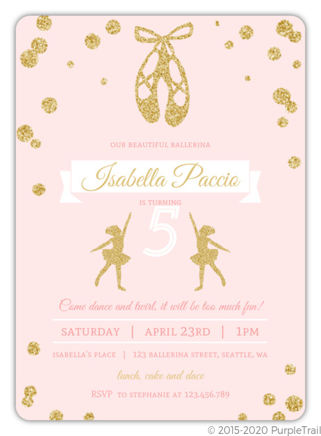 Pink and gold ballerina birthday party invitation kids birthday pink and gold ballerina birthday party invitation filmwisefo