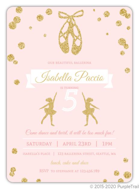 Pink And Gold Ballerina Birthday Party Invitation Kids Birthday