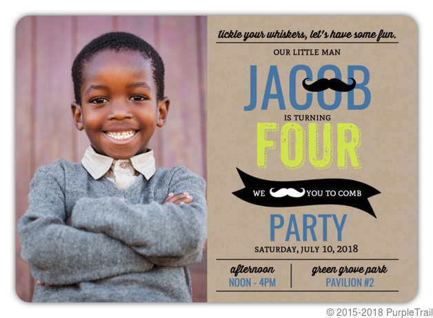 Hip Mustache Kraft Kids Birthday Party Invitation