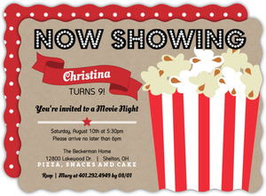 Movie Night Kids Birthday Party Invitations