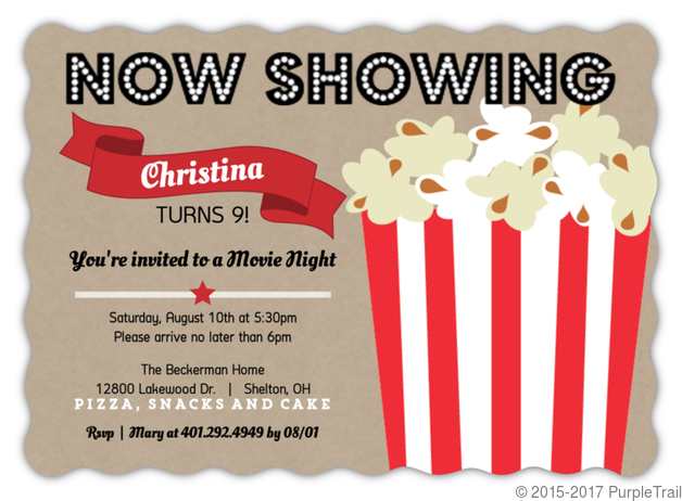 Movie Night Kids Birthday Party Invitations Kids Birthday Invitations