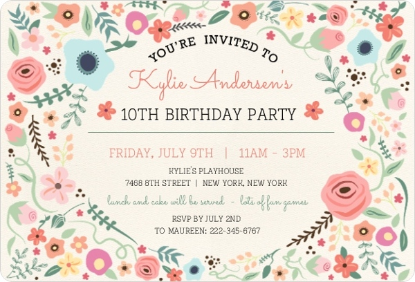 Girly floral frame birthdday invitation kids birthday invitations girly floral frame birthdday invitation stopboris Choice Image