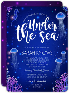 Glowing Jellyfish Under The Sea Baby Shower Invitation